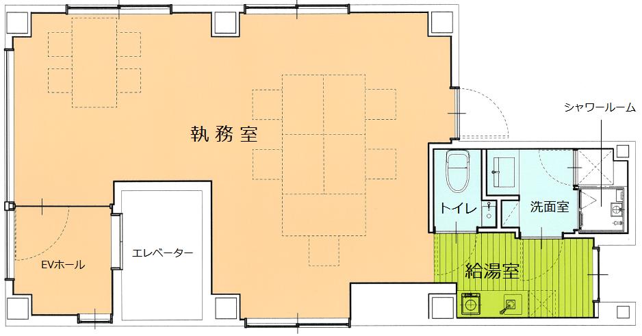 【デザイナーズ】築地、約10坪。<br>内装造作付きの約10名用オフィス